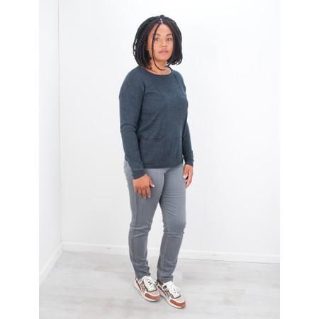 Foil Simple Interest Merino Pocket Sweater - Blue