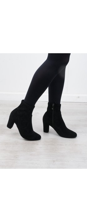 Caprice Footwear Britt Stretch Faux Suede Ankle Boot  Black