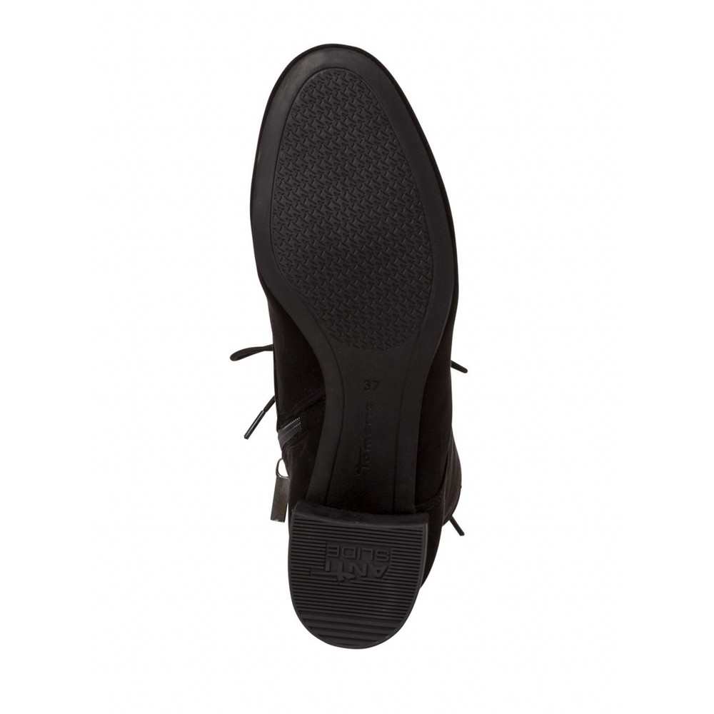 Tamaris Cika Lace Front Faux Suede Ankle Boot Black