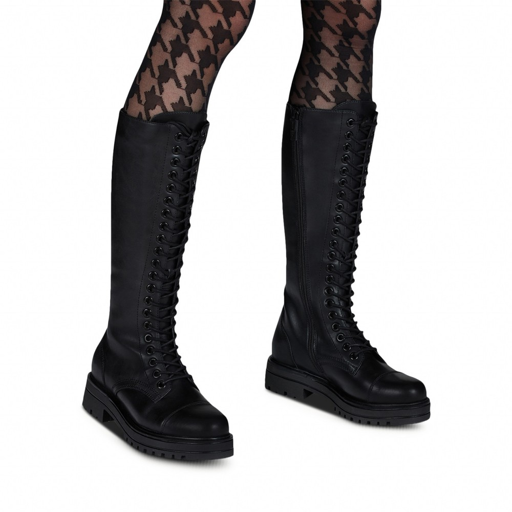 Tamaris Tris Biker Long lace Front Boot Black
