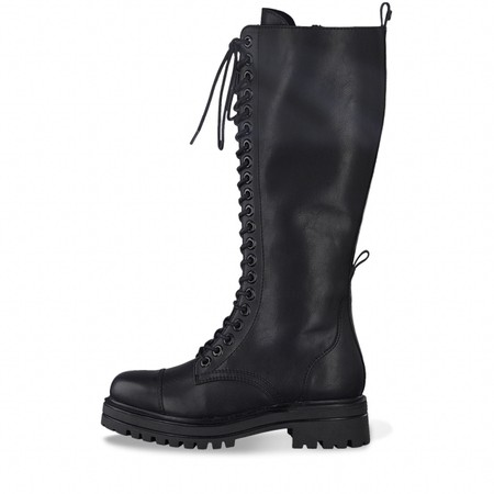 Tamaris  Tris Biker Long lace Front Boot - Black