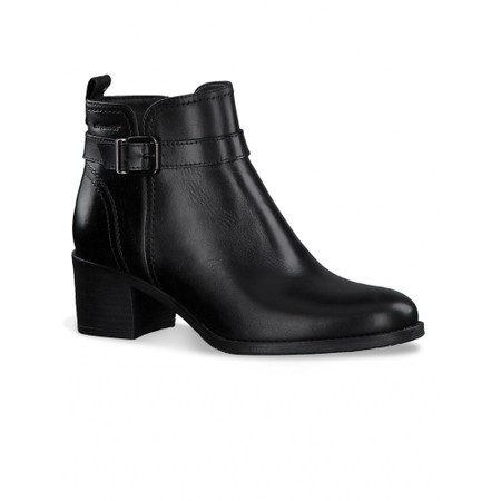Tamaris  Pauletta Buckle Detail Leather Ankle Boot - Black