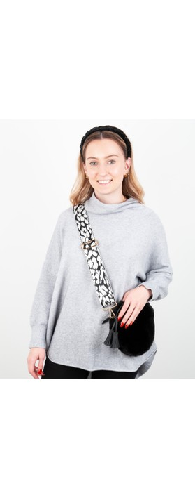 Kris-Ana Greta Bag Strap Animal Print Black/White