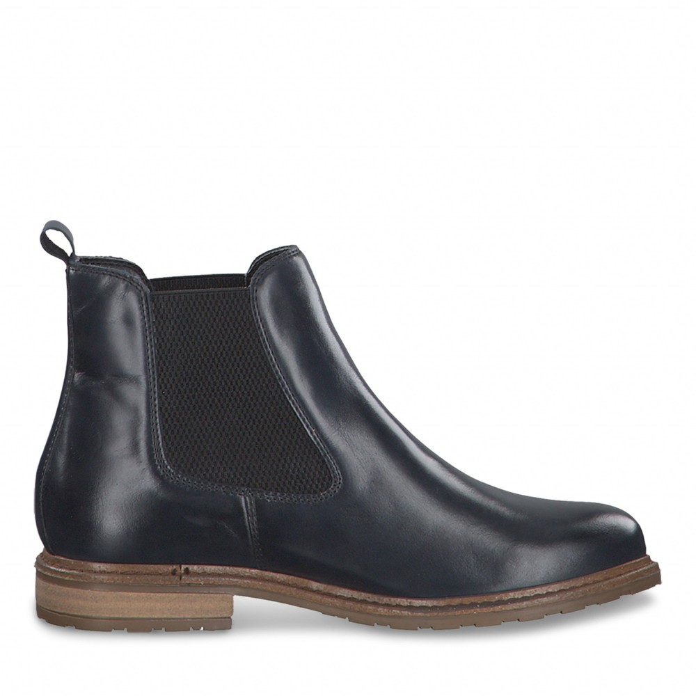 Tamaris Belin Leather Chelsea Boot Navy