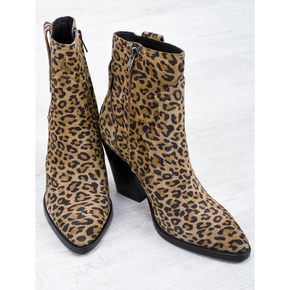 Ash Esquire Leopard Print Heeled Boot Tan Leopard