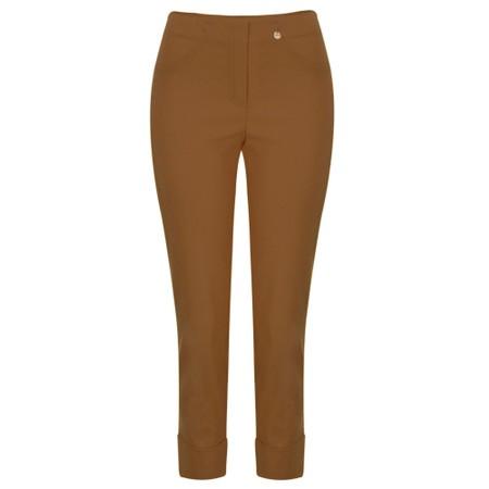 Robell  Bella 09 Brass Ankle Length Crop Cuff Trouser - Bronze