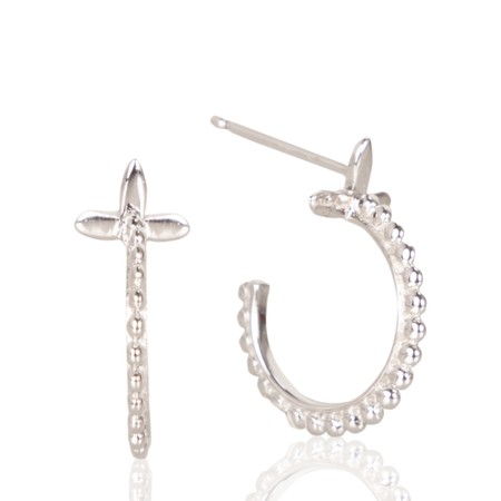 Ania Haie Modern Beaded Hoop Earrings - Metallic