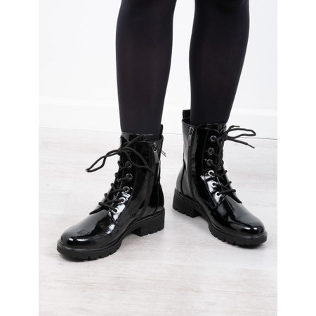 Tamaris  Major Patent Military Style Ankle Boot - Black