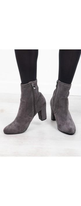 Caprice Footwear Britt Stretch Faux Suede Ankle Boot  Dark Grey
