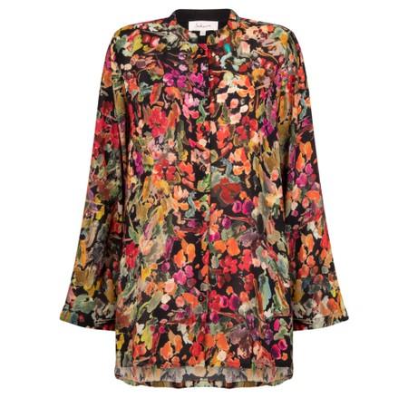 Sahara Button Through Drapey Shirt - Multicoloured