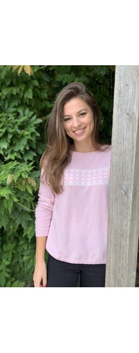 Luella Lizzie Cashmere Blend Jumper with Stars Pale Pink / Off White