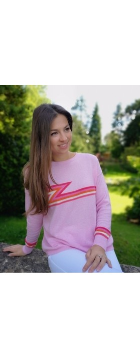 Luella Ziggy Cashmere Blend Lightning Zig Zag Jumper  Pale Pink