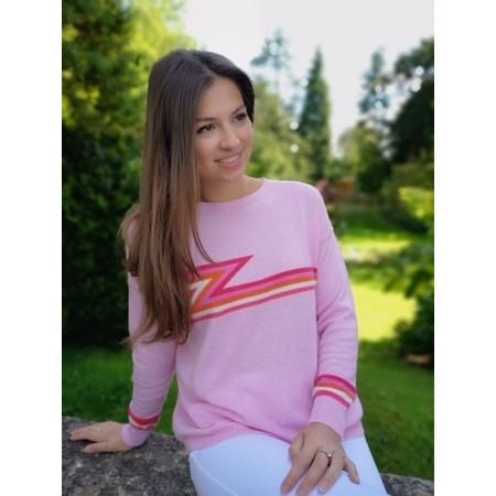Luella Ziggy Cashmere Blend Lightning Zig Zag Jumper  - Pink