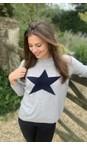 Luella Silver Grey / Navy  Classic Star Cashmere Blend Jumper
