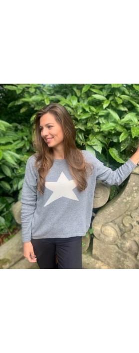 Luella Classic Star Cashmere Blend Jumper Mid Grey / Off White