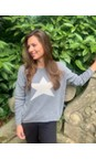 Luella Mid Grey / Off White Classic Star Cashmere Blend Jumper