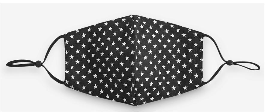 Jayley Stars Face Mask MKDX14A-02 Black/White Stars