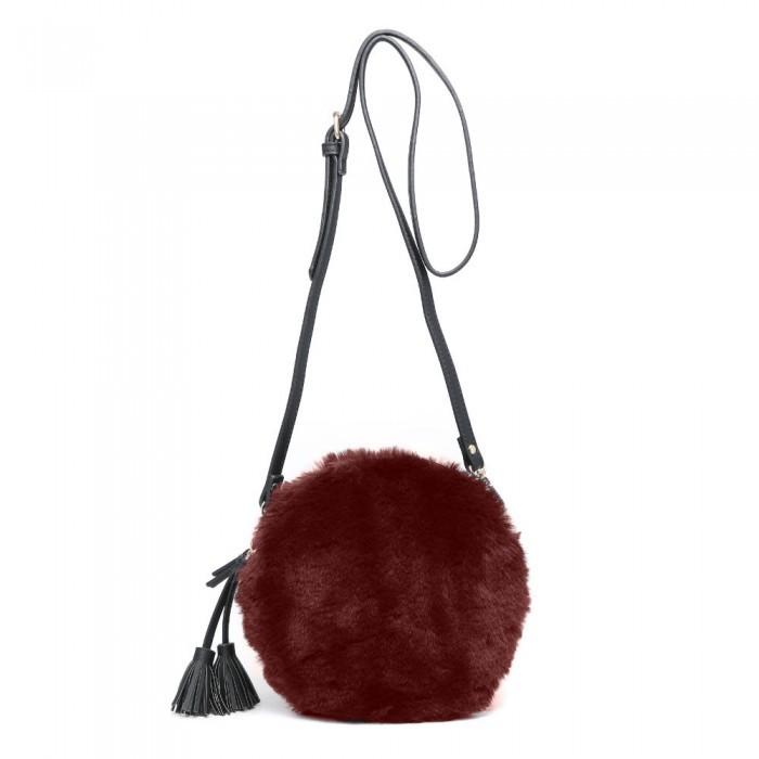 Gemini Label Bags Nala Faux Fur Round Bag Dark Red