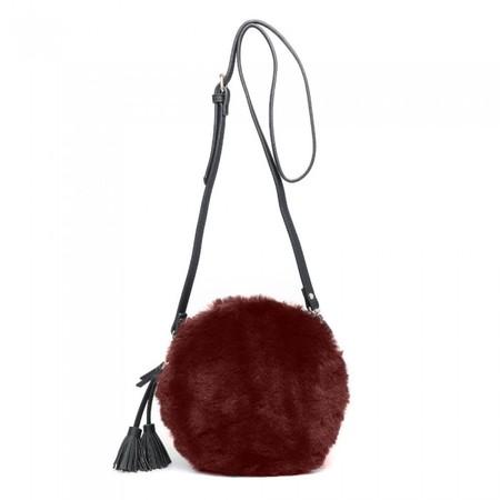 Gemini Label Bags Nala Faux Fur Round Bag - Red
