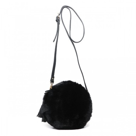 Gemini Label  Nala  Black Faux Fur Round Bag - Black