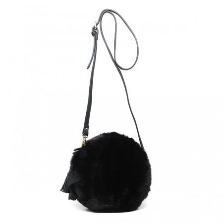 Gemini Label Bags Nala  Black Faux Fur Round Bag - Black