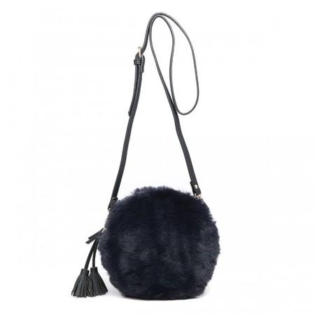 Gemini Label Bags Nala Navy Faux Fur Round Bag - Blue
