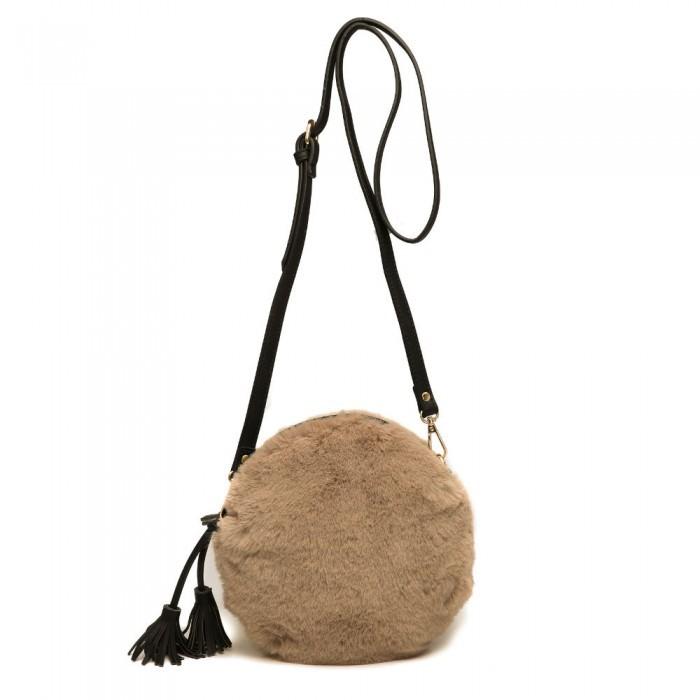 Gemini Label Bags Nala Faux Fur Round Bag Taupe