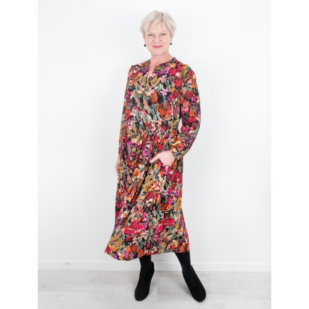 Sahara Painterly Floral Pleated Dress - Multicoloured