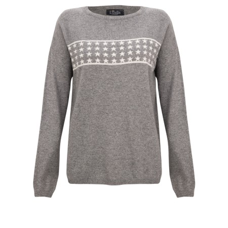 Luella Lizzie Cashmere Blend Jumper with Stars - Grey