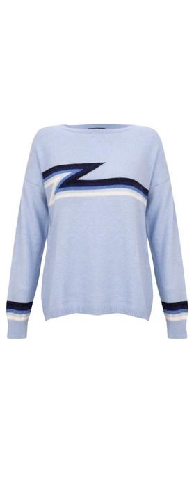 Luella Ziggy Cashmere Blend Lightning Zig Zag Jumper  Pale Blue