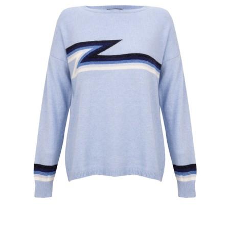 Luella Ziggy Cashmere Blend Lightning Zig Zag Jumper  - Blue