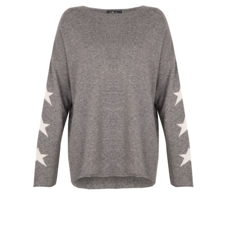Luella Georgia Cashmere Blend Jumper with Stars on Sleeve  - Grey