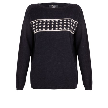 Luella Lizzie Cashmere Blend Jumper with Stars - Blue