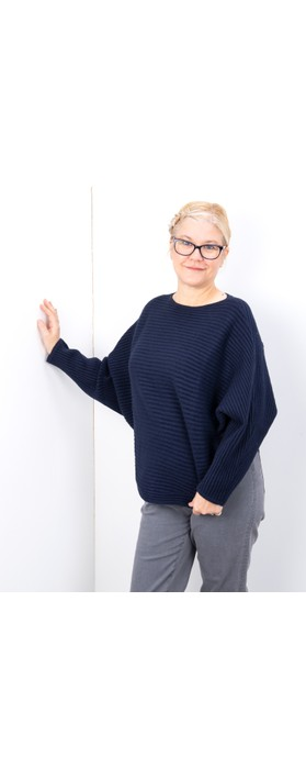 Amazing Woman  Serendipity Batwing Cross Ribbed Jumper French Navy