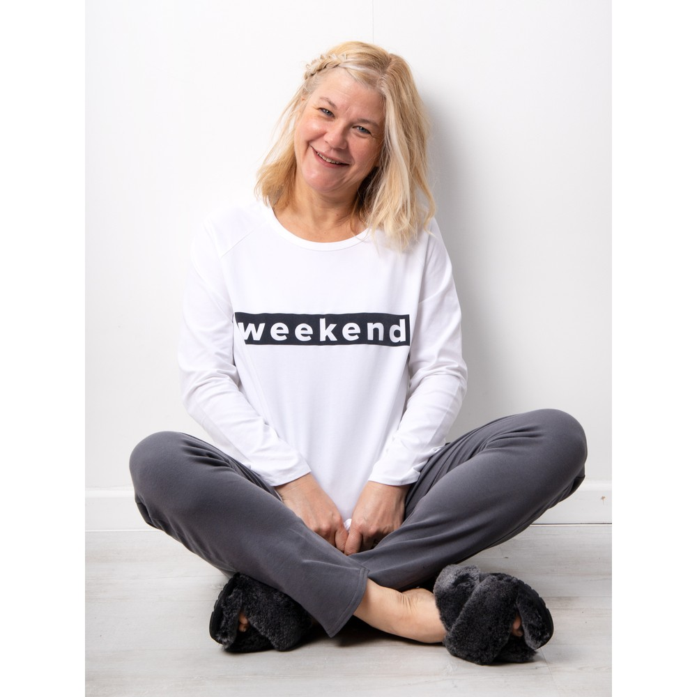Chalk Holly Weekend Top White / Charcoal