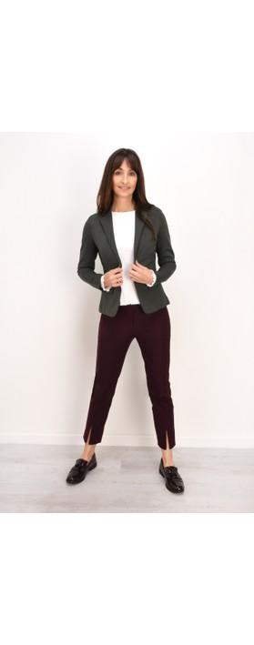 Robell Nena 09 Aubergine Slimfit Fleece Lined Ankle Length Trouser Aubergine 560