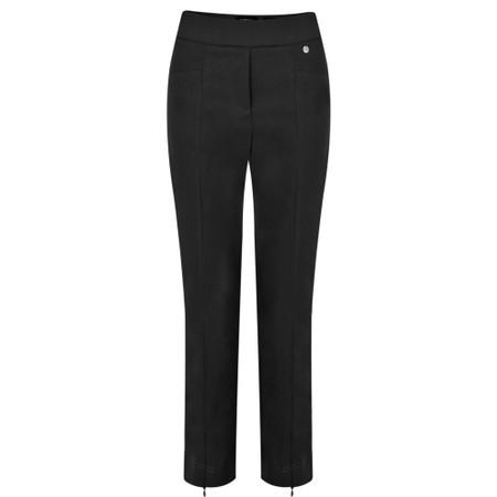 Robell  Nena 09 Black Slimfit Fleece Lined Ankle Length Trouser - Black