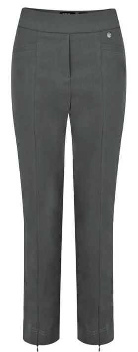 Robell Nena 09 Grey Slimfit Fleece Lined Ankle Length Trouser Slate Grey 98