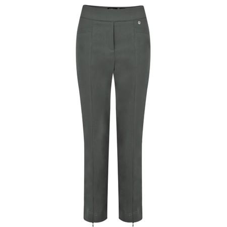 Robell  Nena 09 Grey Slimfit Fleece Lined Ankle Length Trouser - Grey