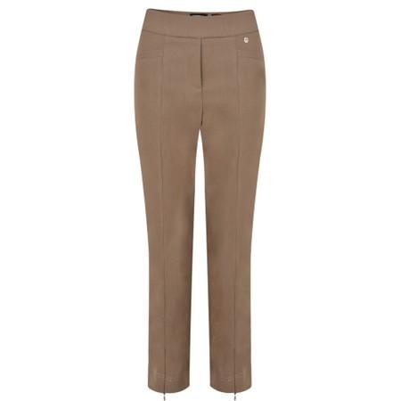Robell Nena 09 Almond Slimfit Fleece Lined Ankle Length Trouser - Brown