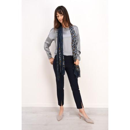 Robell  Nena 09 Navy Slimfit Fleece Lined Ankle Length Trouser - Blue