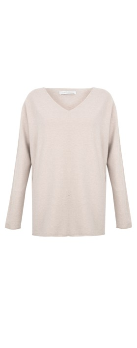 Amazing Woman Cleo V Neck Lurex Trim Supersoft Fine Knit Ivory