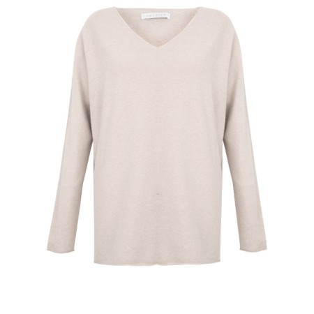 Amazing Woman Cleo V Neck Lurex Trim Supersoft Fine Knit - Off-White