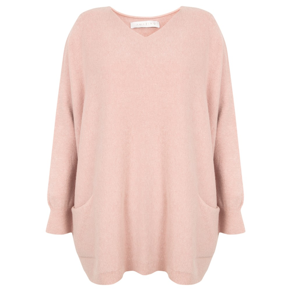 Amazing Woman Caryf X Round Neck Oversized Jumper Antique Rose