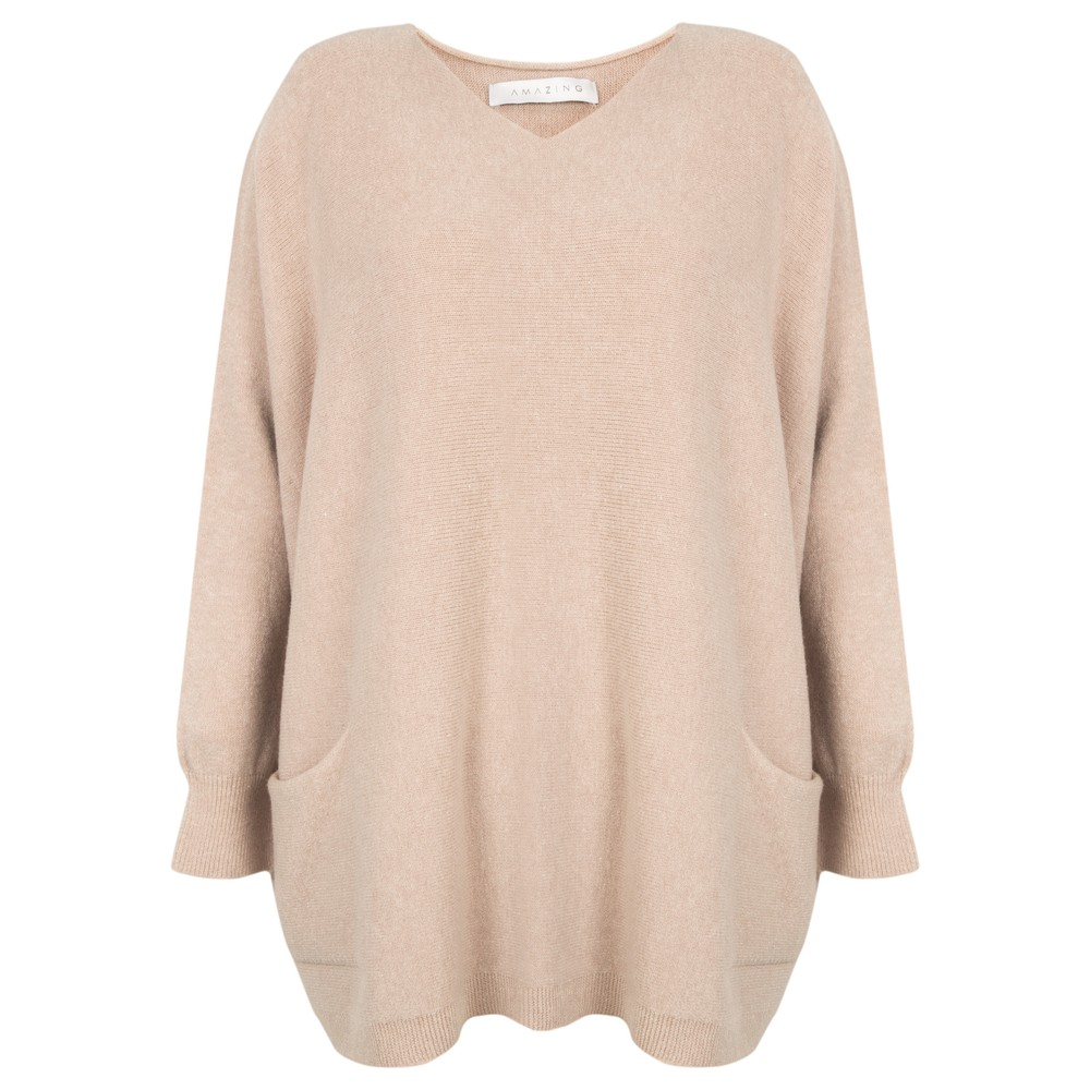 Amazing Woman Caryf X Round Neck Oversized Jumper Beige