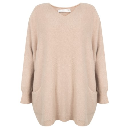 Amazing Woman  Caryf X Round Neck Oversized Jumper - Beige