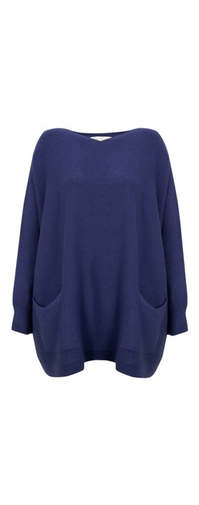 Amazing Woman Curve Caryf X Round Neck Oversized Jumper Navy