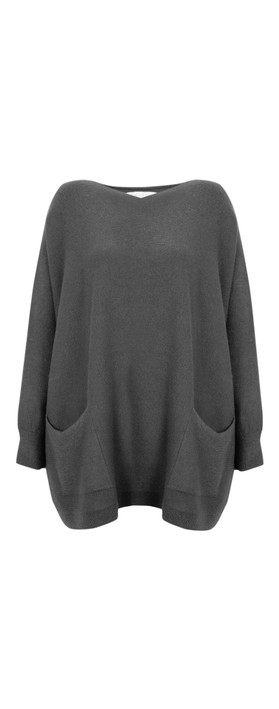 Amazing Woman Caryf X Round Neck Oversized Jumper Charcoal
