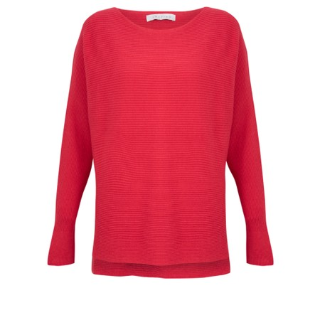 Amazing Woman  Celia Round Neck Ribbed Knit - Red