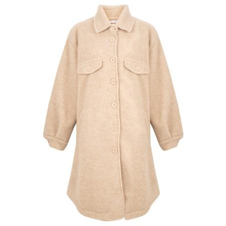 Amazing Woman  Lucerne Wool Textured Longline Shacket - Beige